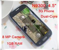 "Free shipping 4.5"" IPS N9300  i9300  Dual Core MTK6577 1GB RAM 3G GPS  Android 4.1.1  Smart Phone 8GB ROM  1GB RAM"