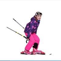 2014 New Children's Winter Clothing Set Windproof Zipper contrast color Dot print hooded Fur Jacket+Bib Pants girls Skiing Suit