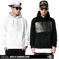 COOL , 2014 HBA Hood By Air patchwork PU leather hoodies hiphop leisure sportswear high quality sport sweatshirt with hood coat