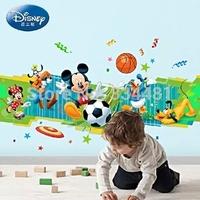 Free shipping New Arrival Cartoon PVC Wall sticker Cute Mickey Mouse Sport Play Basketball For Kids Romm Nursery Art  Wall Decor