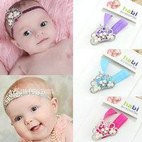 New 2014 hot sale baby girls elastic headband girl's rhinestone crown hair band kids hairwear children hair accessories