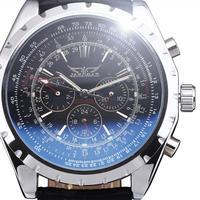 2014 new fashion genuine leather winner multi luxury stylish genuine leather vintage men mechanical self wind wrist watch