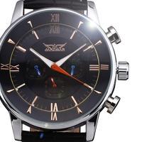 new 2014 fashion genuine leather calendar luxury gift men watches army military winner mechanical self wind wrist dress watch
