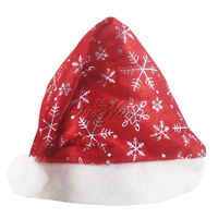Red Xmas Santa Hat Fancy Unisex Christmas Party Decoration Cap With Silver Stamping Snowflakes Ornament Wholesales