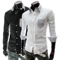 New 2014 Fall Winter Men Shirts Fashion Casual Wild Striped Men lapel Long Sleeve Shirt Free Shipping Promotions White / Black