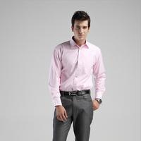 2014 Winter New Casual Shirts for Men, Thermal Thicken plus velvet Slim Fit Men's Pink stripes Shirts, Men Shirt Long Sleeve