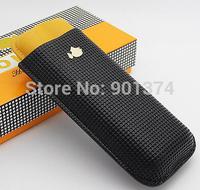 COHIBA Black &yellow Soft Leather Cigar Case Holder 2 Tube W/ Fancy Gift Box-free shipping