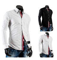 New 2014 Fall Winter Men Shirts Fashion Casual Wild Striped mixed colors Men lapel Long Sleeve Shirt Free Shipping White / Black