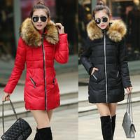 2014 Winter Coat Thickening Slim Medium-long Down Jacket Elegant Luxury Large Fur Collar Cotton-padded Jacket Women Parkas JC054