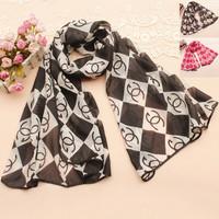British style fashion scarves shawl rural Chinese style black and white double C personality elegant lady scarf 70 * 150CM