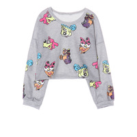 2014 new Autumn ladies sweatshirts Harajuku spoof cartoon pattern short sweater cropped tops for womens hoodie WY0356