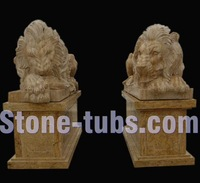 garden sculpture sleeping lion statue by natural travertine wounded lion statue
