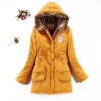 Women's Long Army Logo Cotton Coat,Flocking Faux Fur Liner Winter Snow Warm Cotton Coat Outwear Women,6 Colors,Size S-XL,J6575