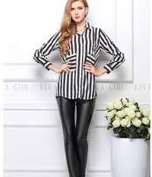 free shipping ! female striped chiffon shirt girl's casual pockets blouse women's spring autumn clothing