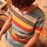 New Fashion Stylish Men's Casual Shirts Slim Fit T-Shirt Colorful Striped V-Neck