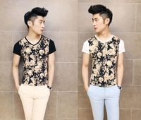Stylish Men's Casual Basic Tee Slim Fit Shirt New Fashion Flower Printed Floral