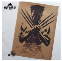 Wolverine movie poster painting retro kraft paper poster bar living room decorative paintings hanging painting murals