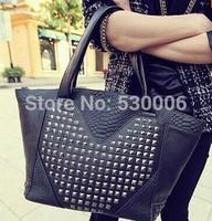 New Arrival Fashion Women Pu Leather Corocodile Pattern Rivet Design Handag Lady's Shoulder Bags Female Messenger Black Color