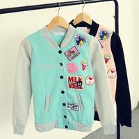 [Alice] 2014 Autumn and winter new style women hoodies applique Baseball jacket fleece warm sweatshirts 2color size S-XL 408