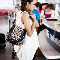 Wholesale New Korean version Lady Handbag Chains Shoulders Bag  multi-purpose Lady bag pu bag clasp bag Free Shipping