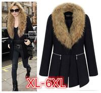2014 Autumn Winter New large size Women Long Woolen Coat Fur Collar Overcoat Wool casacos femininos Plus sizeXL-6XL