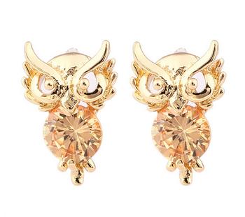 2014 новинка 18 К золото / посеребренная сова форма подражать бриллиантовую свадьбу свадебные серьги ожерелье комплект для женщин