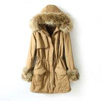 Women's Long Large Faux Fur Collar Cotton Coat,Flocking Liner Winter Snow Warm Cotton Outwear Women,2 Colors,Size L-XXL,J6577