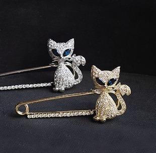 0353 Korean jewelry super cute green-eyed gaze Meng crystal diamond brooch brooch pin kitten(China (Mainland))