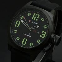 Hot Brand Curren Men Boys Outdoor Sports Quartz Watch Green luminous Numbers Military Watch Big Face Date Watch Relogio 8127