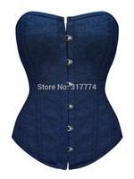 Hot Plus Size  blue Sleepwear Sexy Women Lace Tops Steel Bustier Lingerie Overbust Corset Dresses (S,M,L,XL) 2196