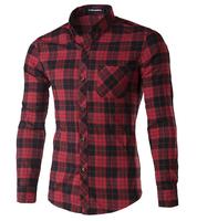 high quality 100% cotton men Plaid shirt Spring and Autumn men's casual long sleeve slim fit social shirts 4 colors size: M-5XL