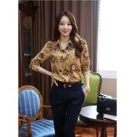 women tops and blouses 2014 new fashion Korean flower print Stretch Chiffon shirts female clothes  blusas de manga comprida