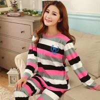 Fashion long sleeve cute female pajamas sets 2014 autumn winter new casual striped sleepwear cartoon feminino pijama hot sell