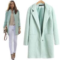 2014 New Free Shipping Winter Coat Mint Green Wool Coat Full Blends S,M,L,XL,2XL,3XL,4XL