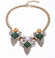 New Arrival 2014 Luxury Statement Fashion Jewelry Accessories Retro Exaggerated Alloy Crystal Choker Necklace & Pendants