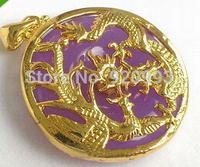 Wholesale&FREE P&P***Purple Jade Yellow Gold Plated Dragon Phoenix Sun Pendant & Necklace