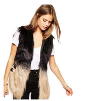 2014 Newest Winter Faux Fur Vest High Quality Sleevesless Warm Leather Patchwork Fur Coat Outerwear Plus Siz Women Clothing