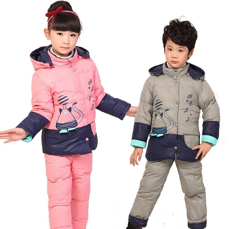 Russia Children's winter clothing set Baby Boy's Ski suit sport windproof warm coats suit fur Jackets+bib pants free shopping(China (Mainland))