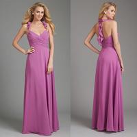 Charming Halter Design A-line Chiffon Floor Length Coral Brides Maid Dresses E39