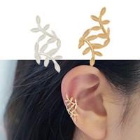 Korea Style Cute Metal Clip Earrings 2014 New Fashion 18k Gold Plated Leaf Shaped Clip Earrings for Women Ladies Earrings Gifts
