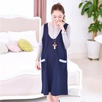 Quality Vest Maternity Casual Dress Clothes for Pregnant Women Navy Blue Clothing for Pregnancy Autumn Egnant Vest Cotton Dress