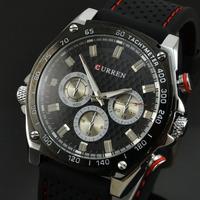 Personalized Full Black Men Watch Curren 8146 Rubber Sports Analog Quartz Watch Fashion Casual Clock Wristwatches