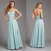 Fashion Ice Blue Sweetheart Floor Length Chiffon Long Bridesmaid Dress E37