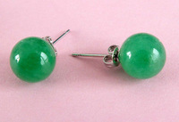 Wholesale Cheap 10mm GREEN JADE PIERCED EARRINGS W STUD WEDDING BIRTHDAY PARTY GIFT  /  Free Shipping