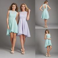Charming Light Blue A-line Chiffon Short Bridesmaid Dress 2014 E40