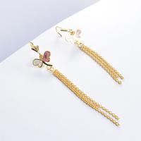 2014 Fashion Women's Titanium Steel Gold Tassel  Pink Butterfly  Drop Earrings Elegant Earrings