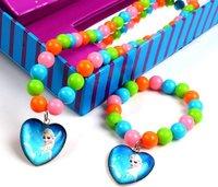 Cute Color Beads Chain Frozen Anna and Elsa Necklace Set Bracelet