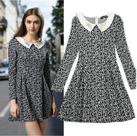 2014 newest Doll collar Lapel Beading Slim women Long-sleeved Big swing dress Set head Knitwear Joker dresses free shipping