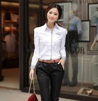womens tops fashion 2014 office  work wear Career blouses Long sleeve shrug Puff  blouse  imported clothing roupa feminina  XXL