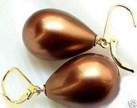 Wholesale Cheap 12x16mm Brown Shell Pearl Dangle Earrings /  Free Shipping